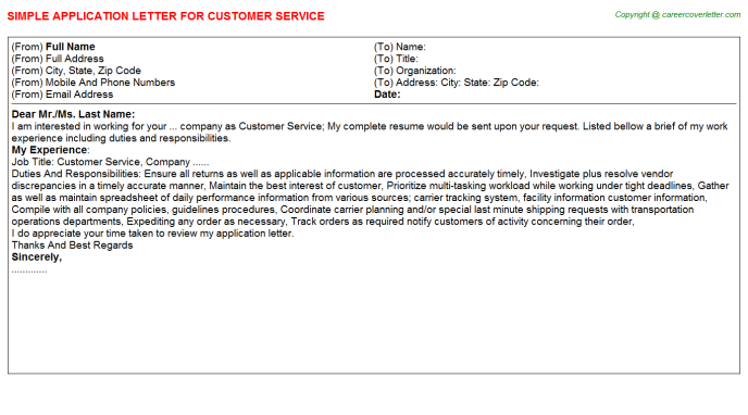 Customer Service Application Letter Template
