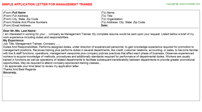 Management Trainee Job Application Letter Template