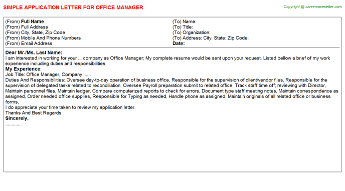 Office Manager Application Letter Template