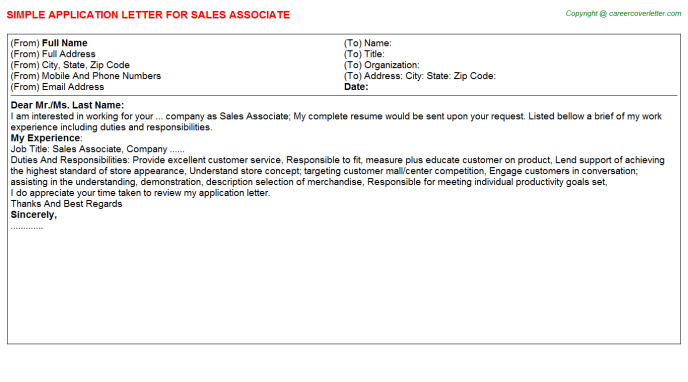 Sales Associate Application Letter Template