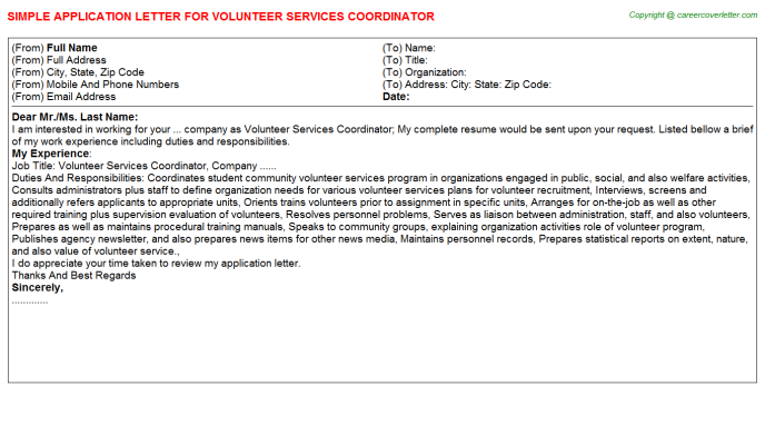Library Volunteer Application Letters