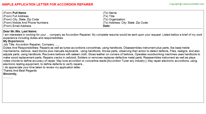 Accordion Repairer Job Application Letter Template