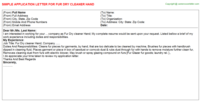 Fur Dry Cleaner Hand Application Letter Template