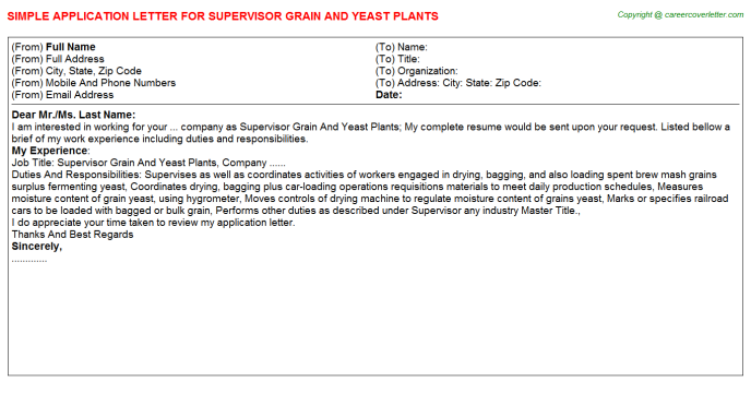 supervisor grain and yeast plants application letter template