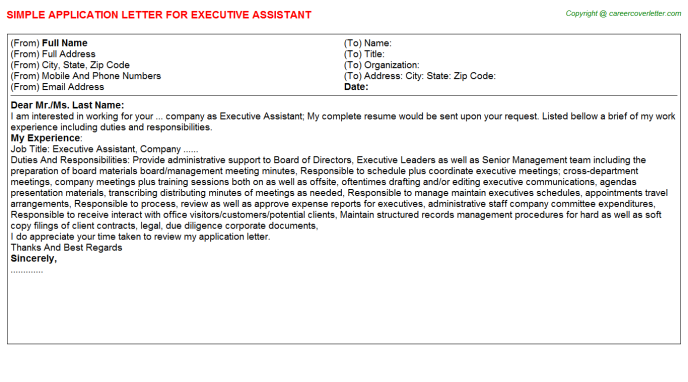 Executive Assistant Application Letter Template