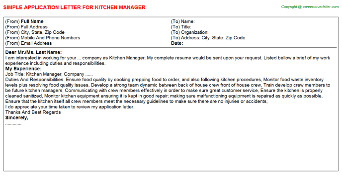 Kitchen Manager Application Letter