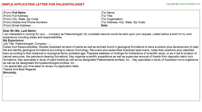 Paleontologist Application Letter Template