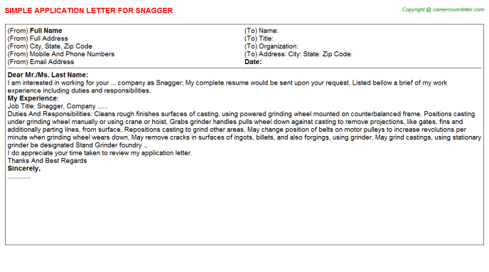 Snagger Application Letter Template