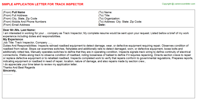 Track Inspector Application Letter Template