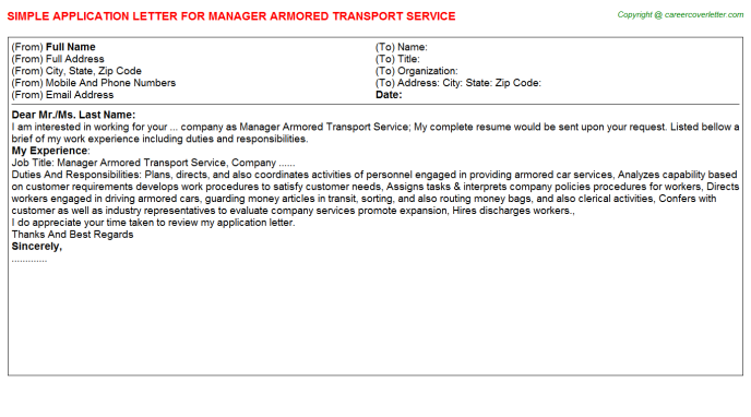 manager armored transport service application letter template