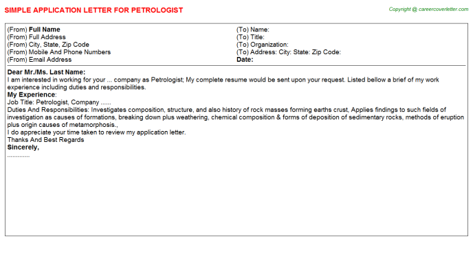 Petrologist Application Letter Template