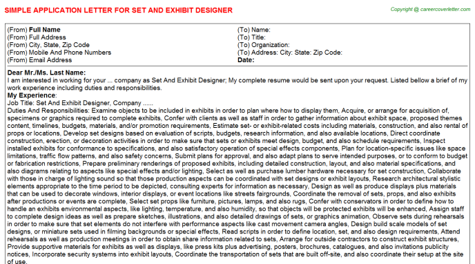 Set And Exhibit Designer Application Letter Template
