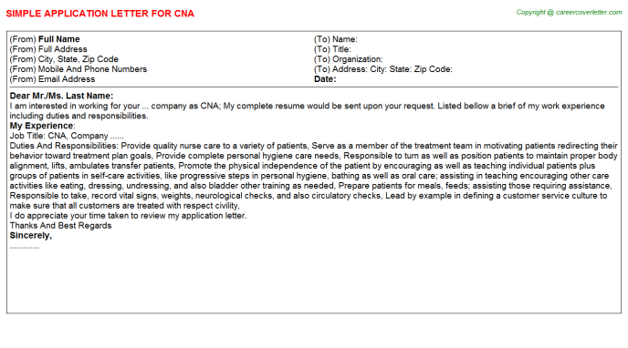 CNA Job Application Letter Template