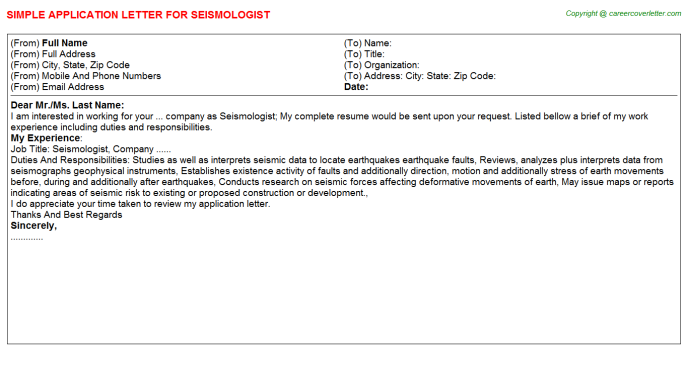 Seismologist Job Application Letter Template
