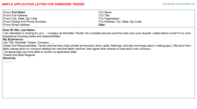 Shredder Tender Application Letter Template