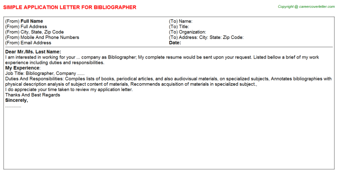 Bibliographer Job Application Letter Template