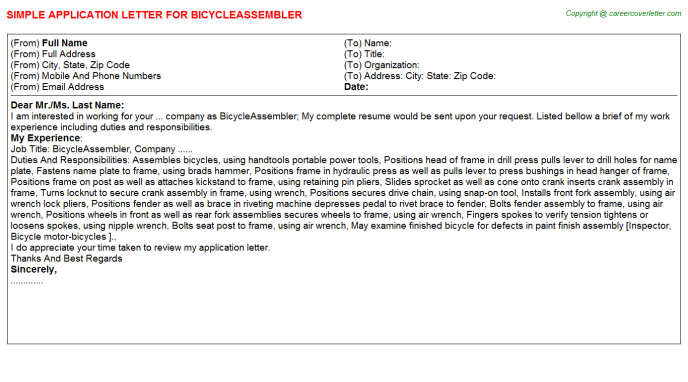 Bicycleassembler Application Letter Template
