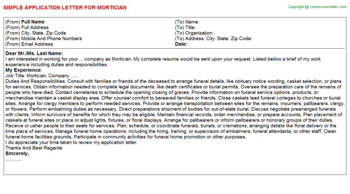 Mortician Job Application Letter Template
