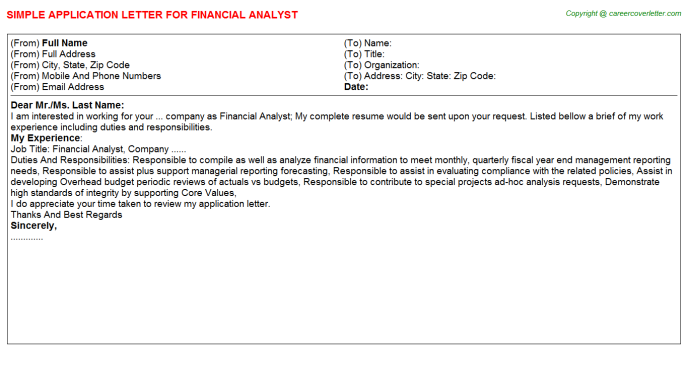 Financial Analyst Application Letter Template