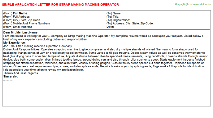 strap making machine operator application letter template