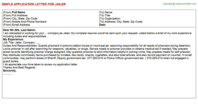 Jailer Application Letter Template