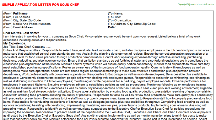 Sous Chef Application Letter Template