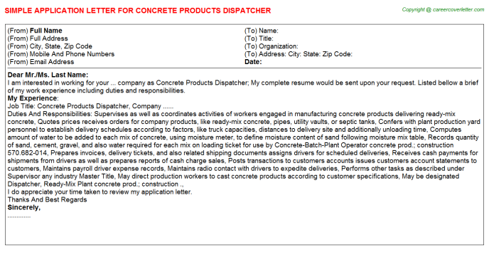 Concrete Products Dispatcher Job Application Letter Template