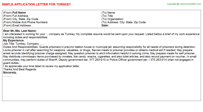 Turnkey Application Letter Template