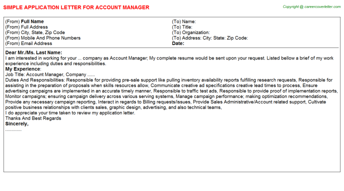Account Manager Application Letter Template