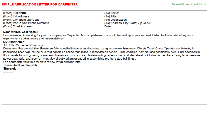 carpenter application letter template