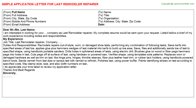 Last Remodeler Repairer Application Letter Template