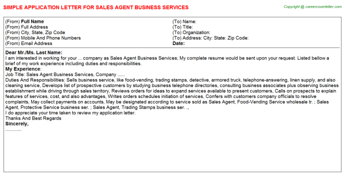 Sales Agent Business Services Application Letter Template