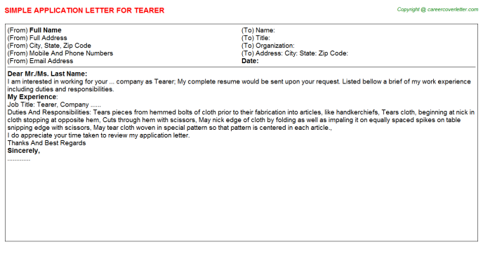 Tearer Job Application Letter Template