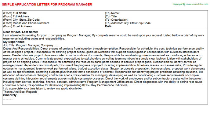 Program Manager Application Letter Template