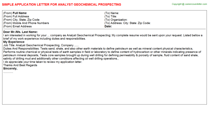 analyst geochemical prospecting application letter template