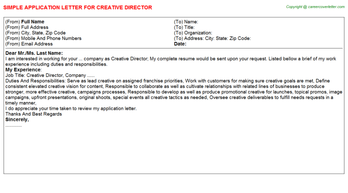 Creative Director Application Letter Template