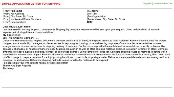 Shipping Application Letter Template