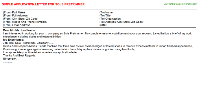 Sole Pretrimmer Application Letter Template