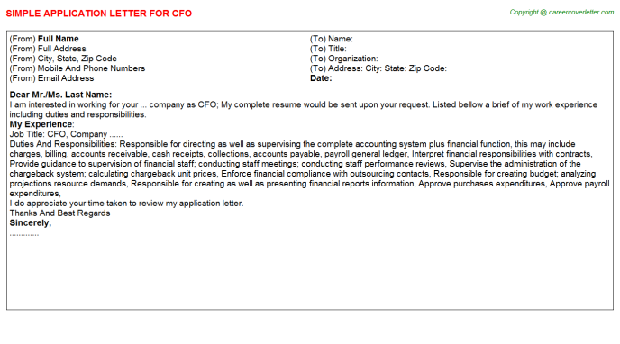 CFO Application Letter Template