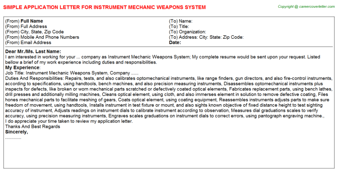 Instrument Mechanic Weapons System Application Letter Template