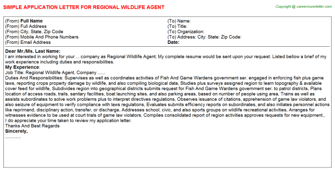 regional wildlife agent application letter template