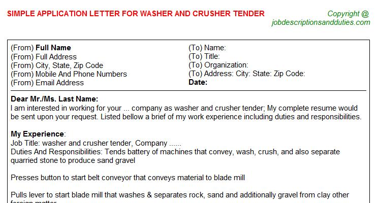 Washer and crusher Tender Application Letter Template