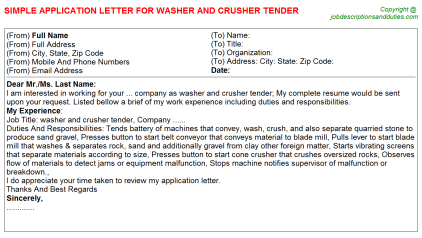 Washer and crusher Tender Job Application Letter Template