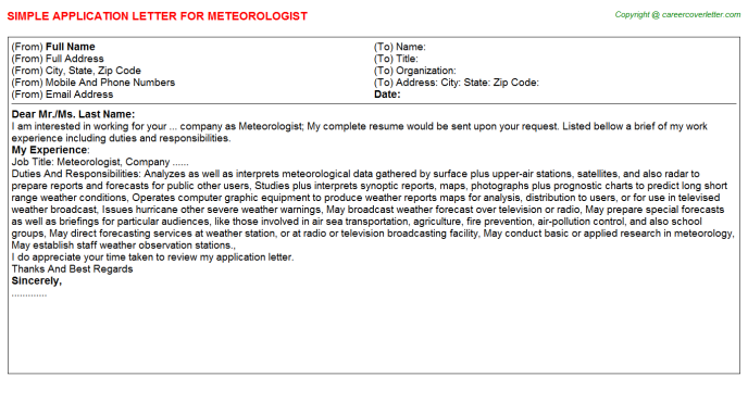Meteorologist Application Letter Template