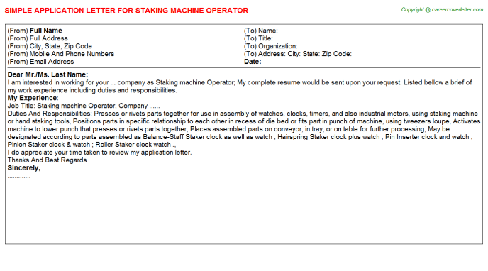 staking machine operator application letter template
