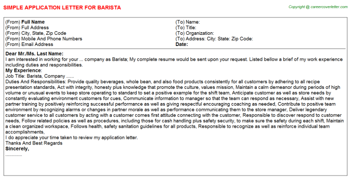 Barista Application Letter Template