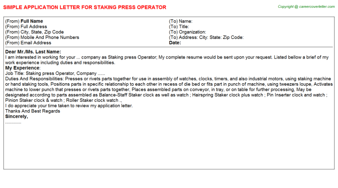Staking press Operator Application Letter Template