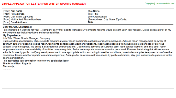 Winter sports manager job application letter (#2588)
