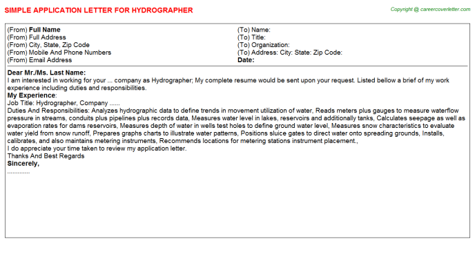 Hydrographer Job Application Letter Template