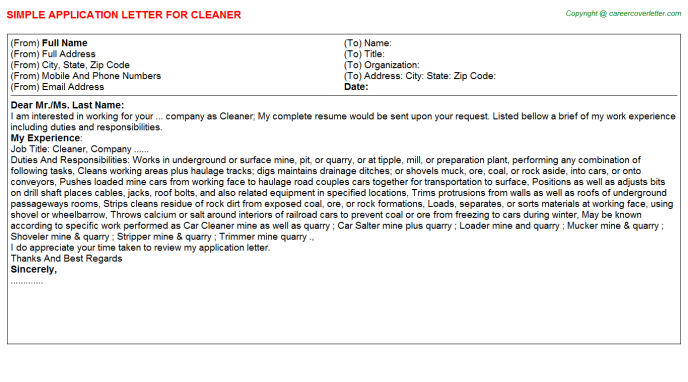 Cleaner Job Application Letter Template